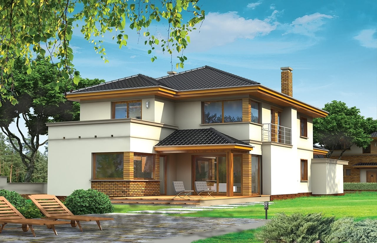 Projekt domu Verona - wizualizacja tylna