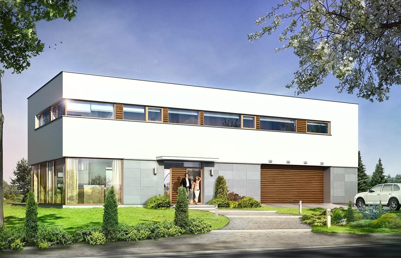 Projekt domu Vertigo - wizualizacja frontowa odbicie lustrzane