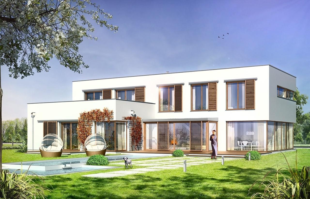 Projekt domu Vertigo - wizualizacja tylna odbicie lustrzane