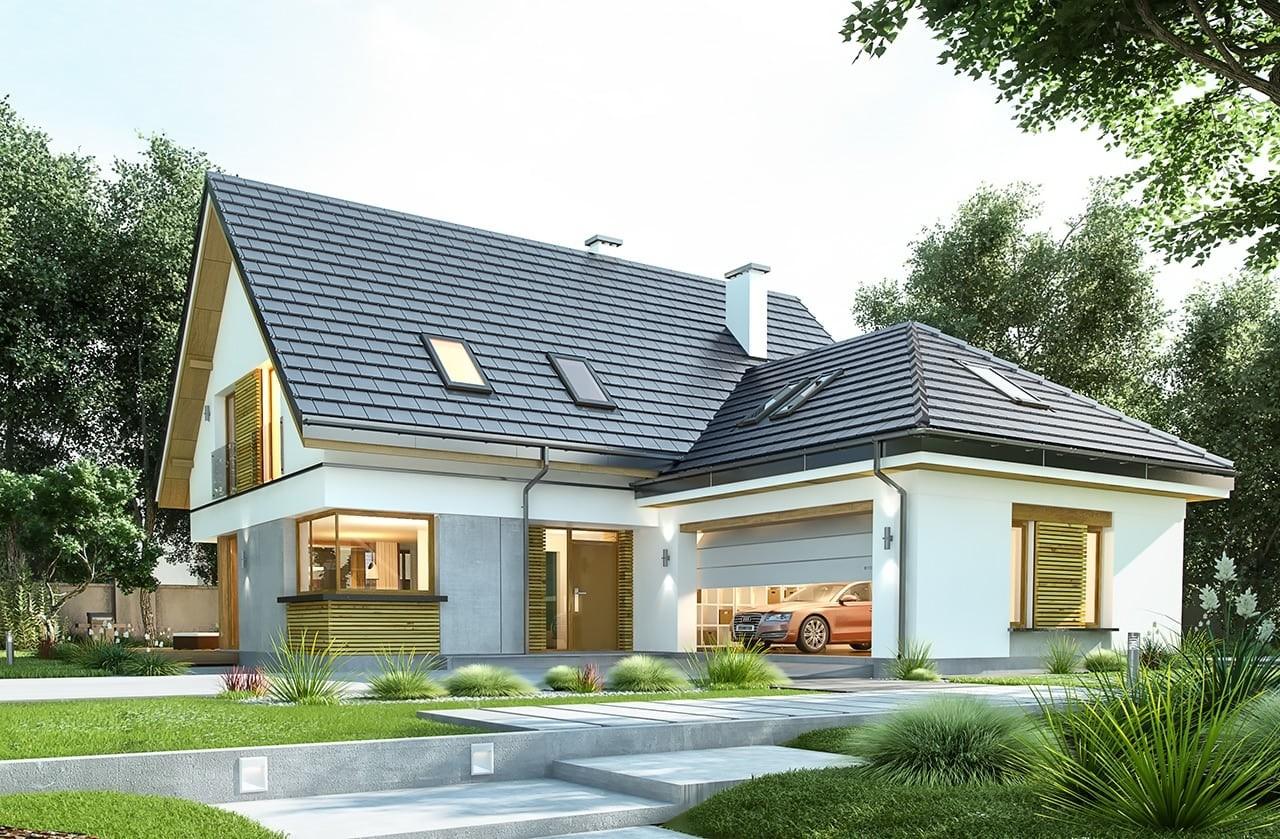 Projekt domu Viking 4 - wizualizacja frontowa odbicie lustrzane