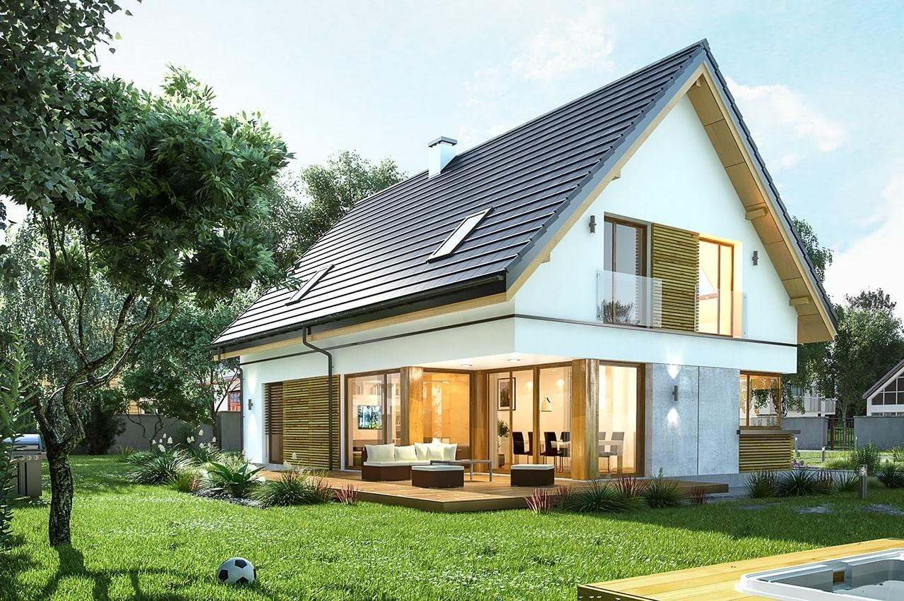 Projekt domu Viking 4 - wizualizacja tylna odbicie lustrzane