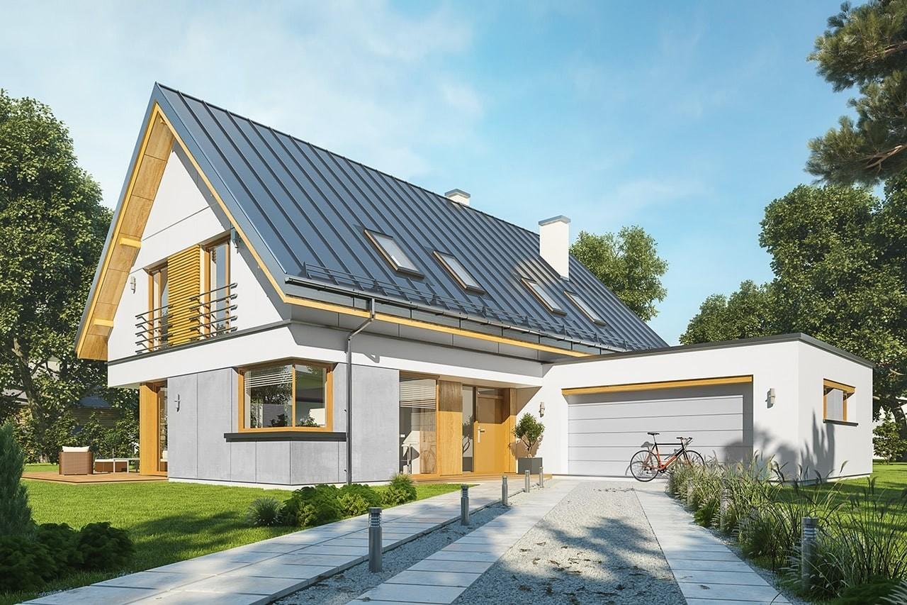Projekt domu Viking 5 - wizualizacja frontowa odbicie lustrzane