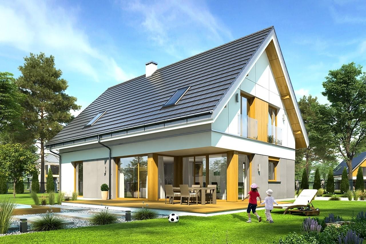 Projekt domu Viking - wizualizacja tylna odbicie lustrzane