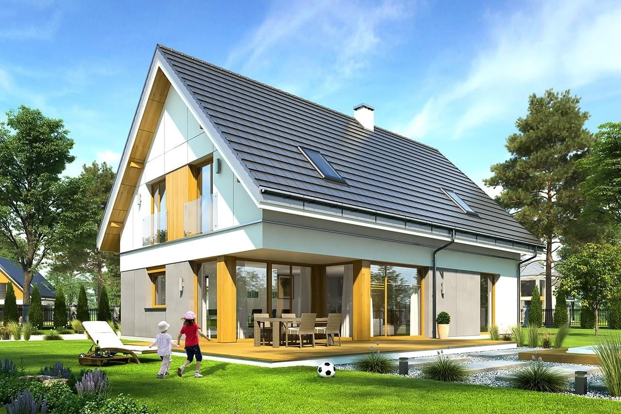 Projekt domu Viking - wizualizacja tylna