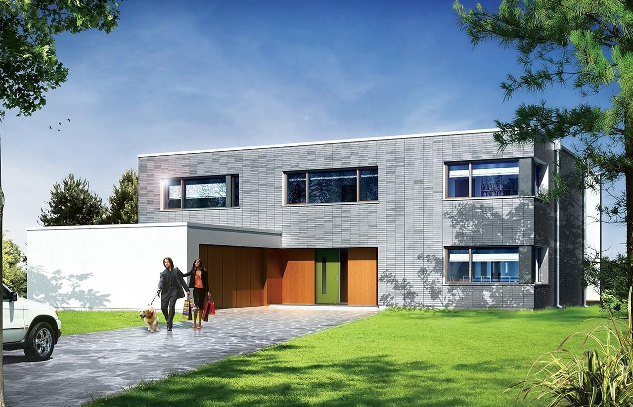 Projekt domu Villa Nova - wizualizacja frontowa odbicie lustrzane