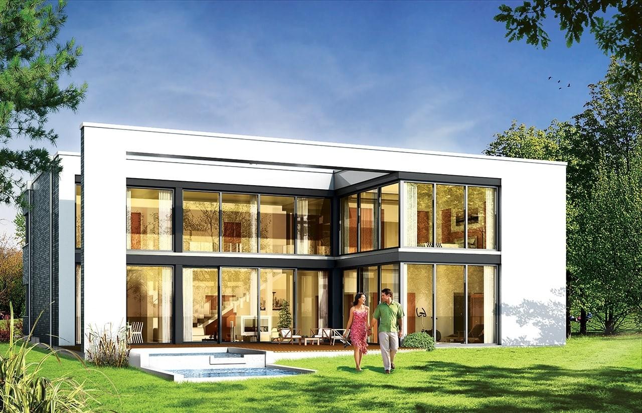 Projekt domu Villa Nova - wizualizacja tylna odbicie lustrzane