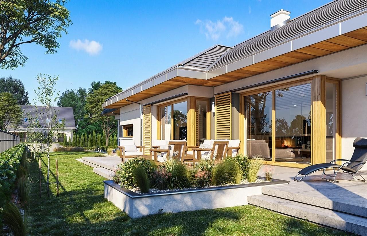 Projekt domu Wąski - wizualizacja tylna odbicie lustrzane