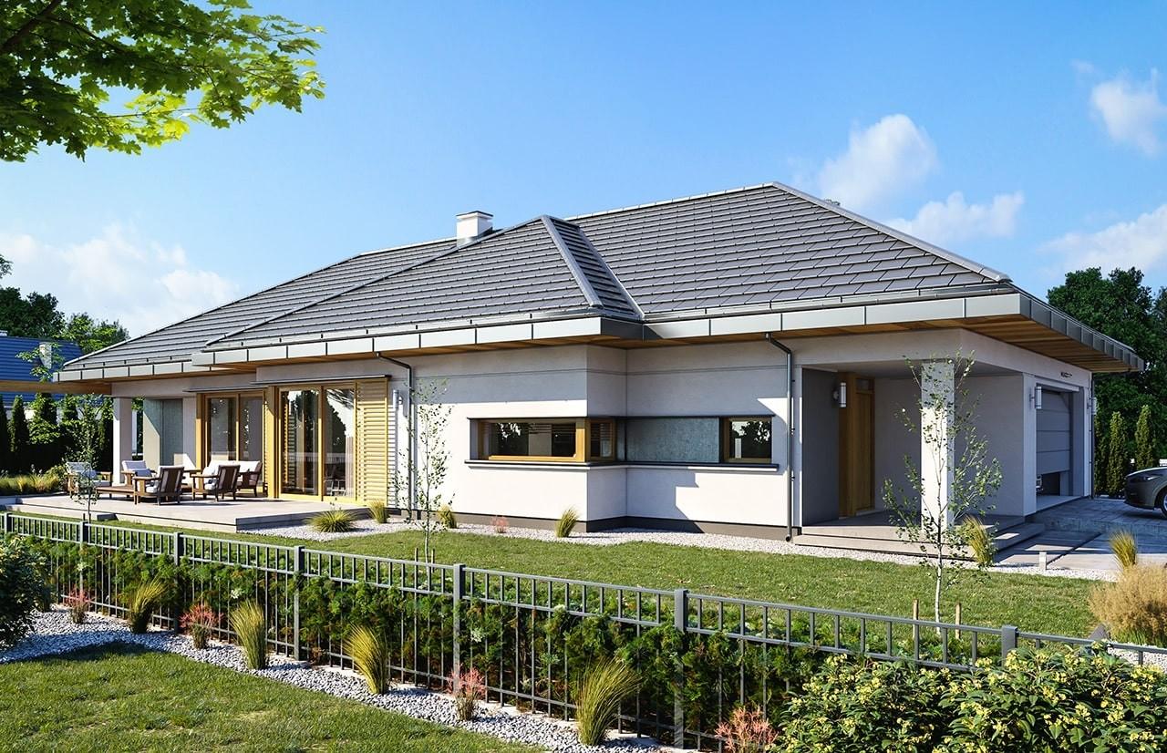 Projekt domu Wąski - wizualizacja tylna