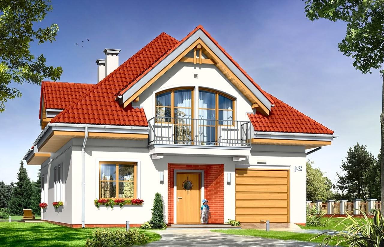 Projekt domu Weronika - wizualizacja frontowa odbicie lustrzane