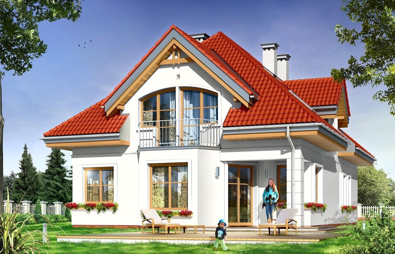 Projekt domu Weronika - wizualizacja tylna odbicie lustrzane
