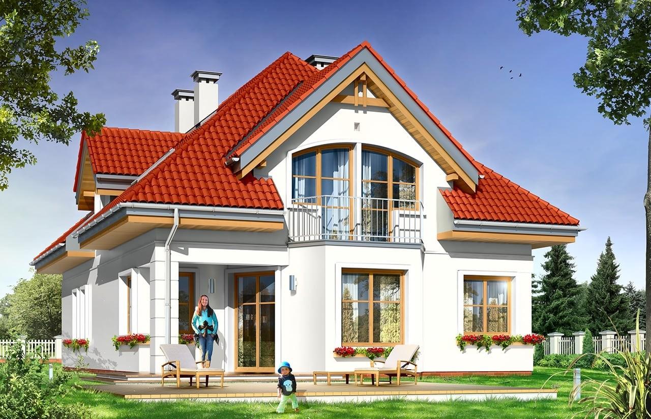 Projekt domu Weronika - wizualizacja tylna