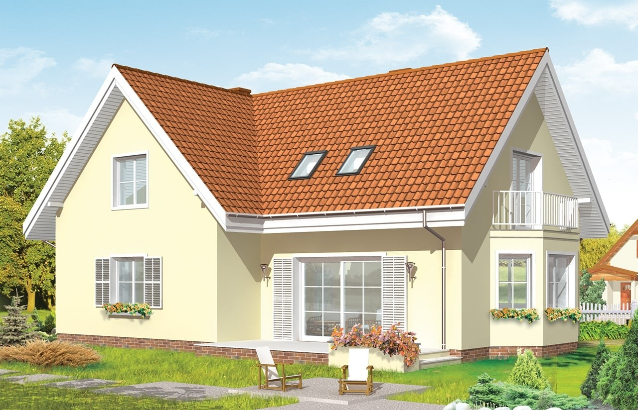 Projekt domu Wesoły - wizualizacja tylna odbicie lustrzane