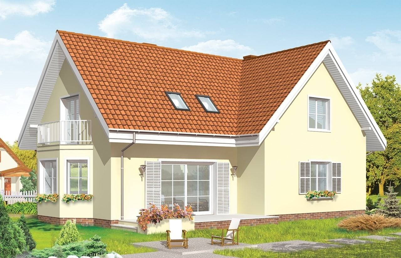 Projekt domu Wesoły - wizualizacja tylna