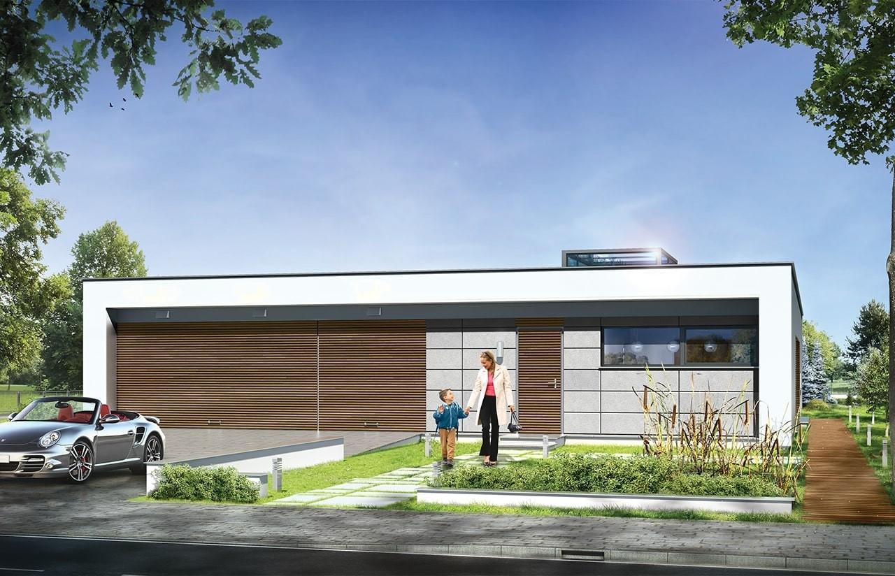 Projekt domu Willa Atrium - wizualizacja frontowa odbicie lustrzane