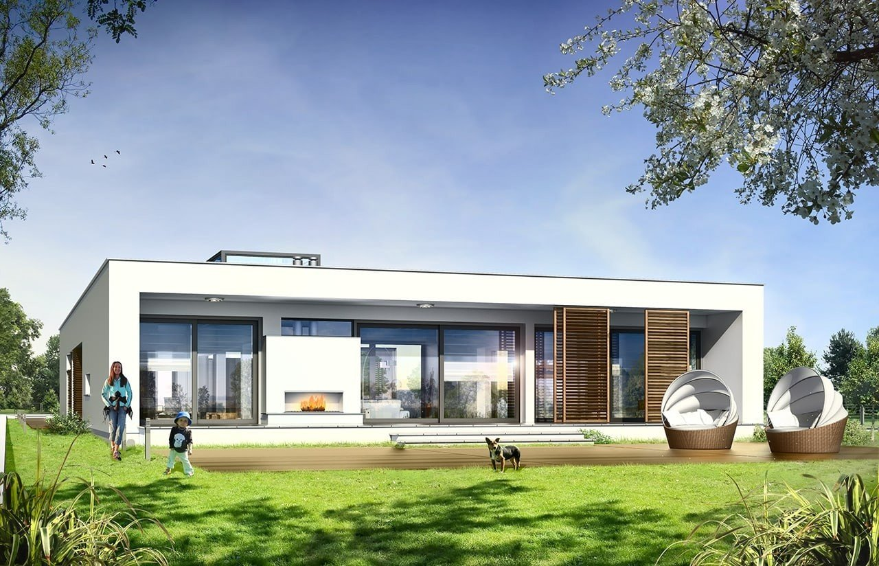 Projekt domu Willa Atrium - wizualizacja tylna odbicie lustrzane