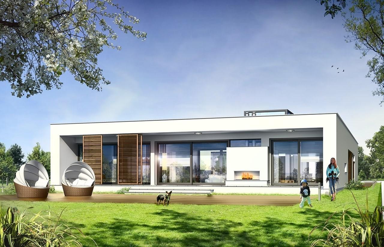 Projekt domu Willa Atrium - wizualizacja tylna