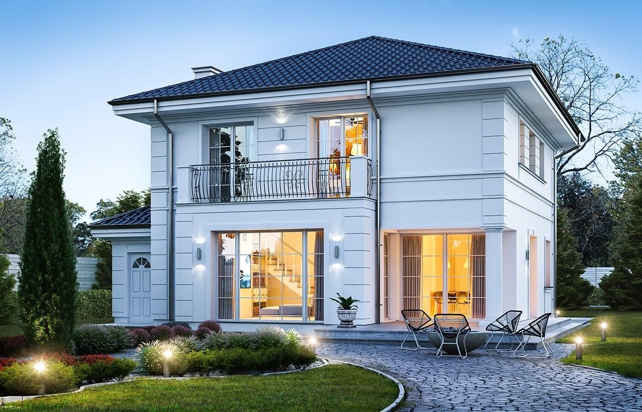 Projekt domu Willa diamentowa - wizualizacja tylna odbicie lustrzane