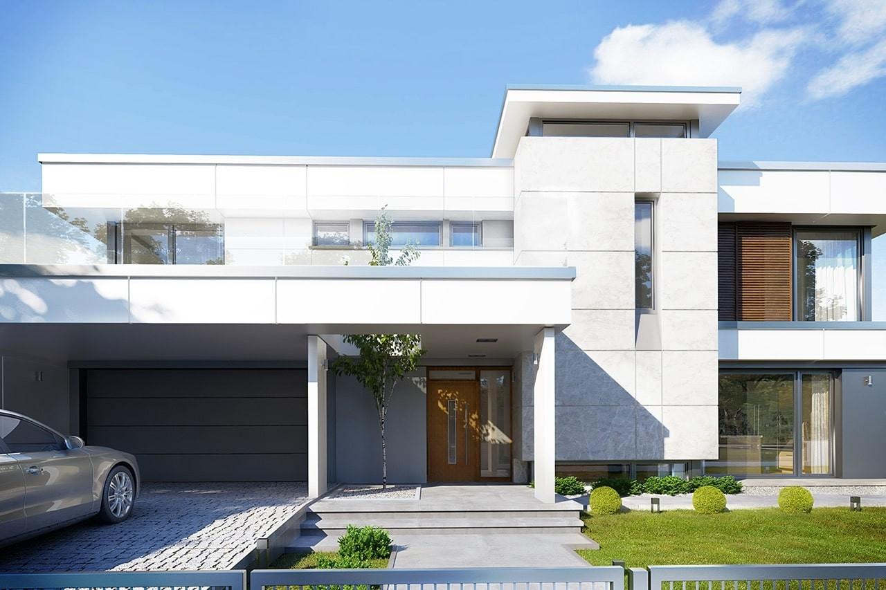 Projekt domu Willa Floryda 2 - wizualizacja frontowa odbicie lustrzane