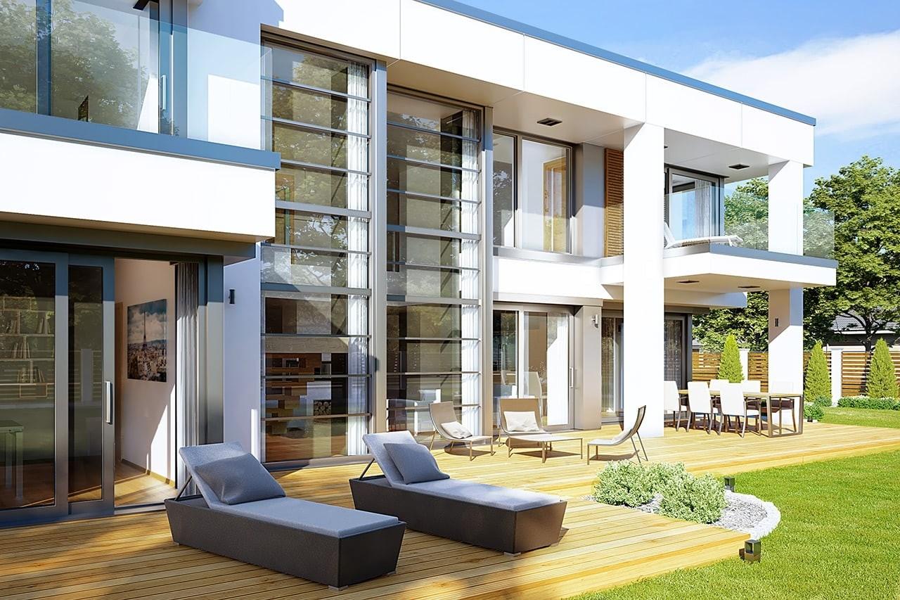 Projekt domu Willa Floryda 2 - wizualizacja tylna