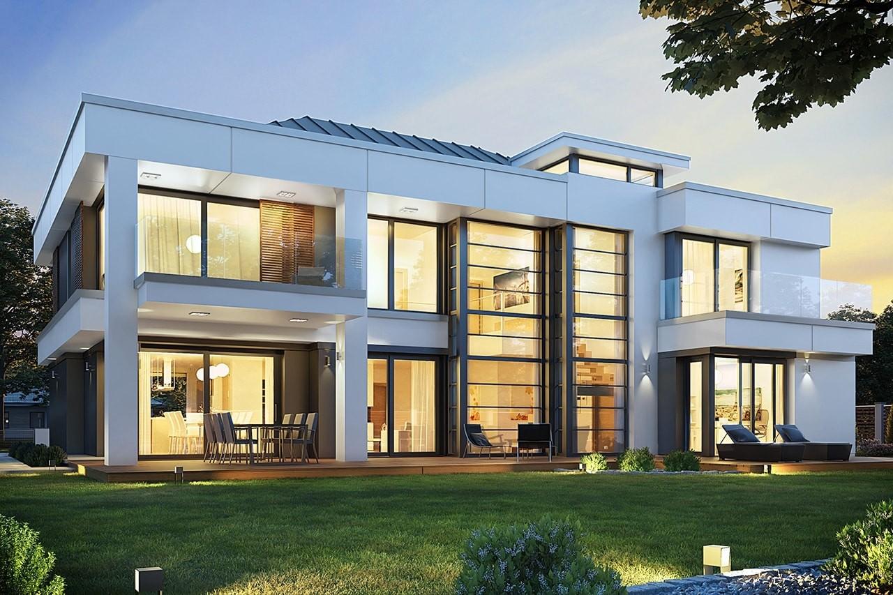 Projekt domu Willa Floryda 2 - wizualizacja tylna odbicie lustrzane