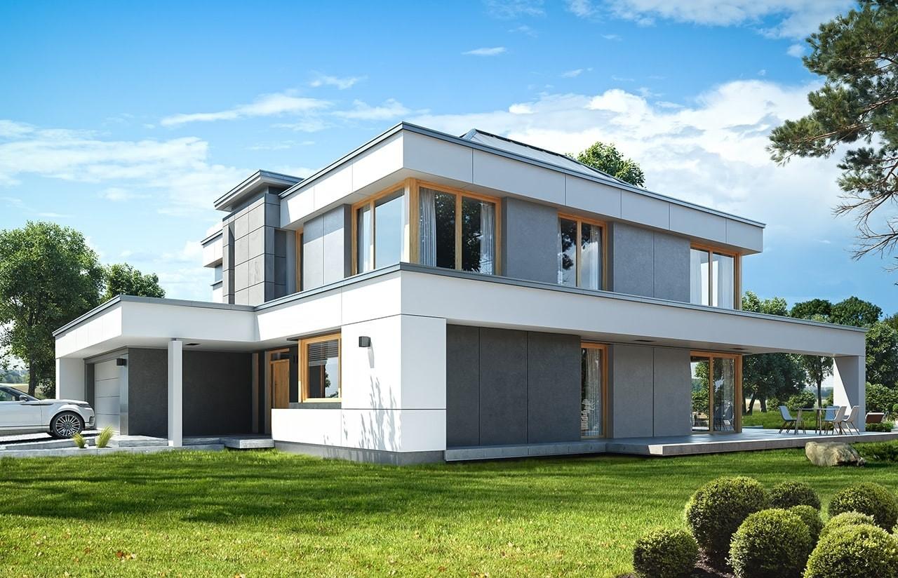 Projekt domu Willa Floryda 3 - wizualizacja frontowa odbicie lustrzane