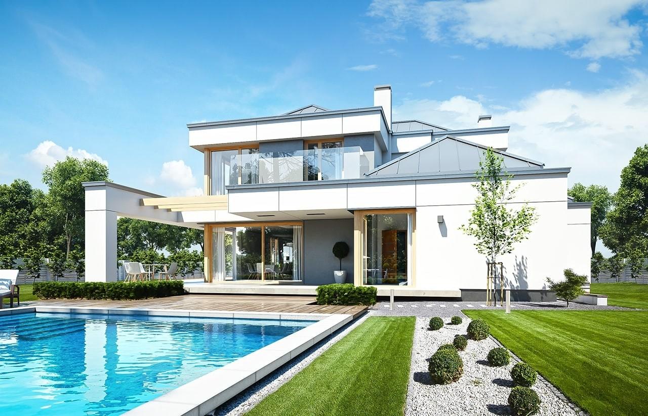 Projekt domu Willa Floryda 3 - wizualizacja tylna odbicie lustrzane