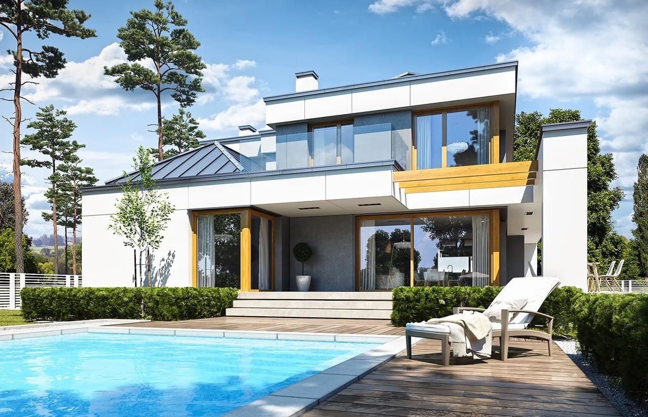 Projekt domu Willa Floryda 3 - wizualizacja tylna