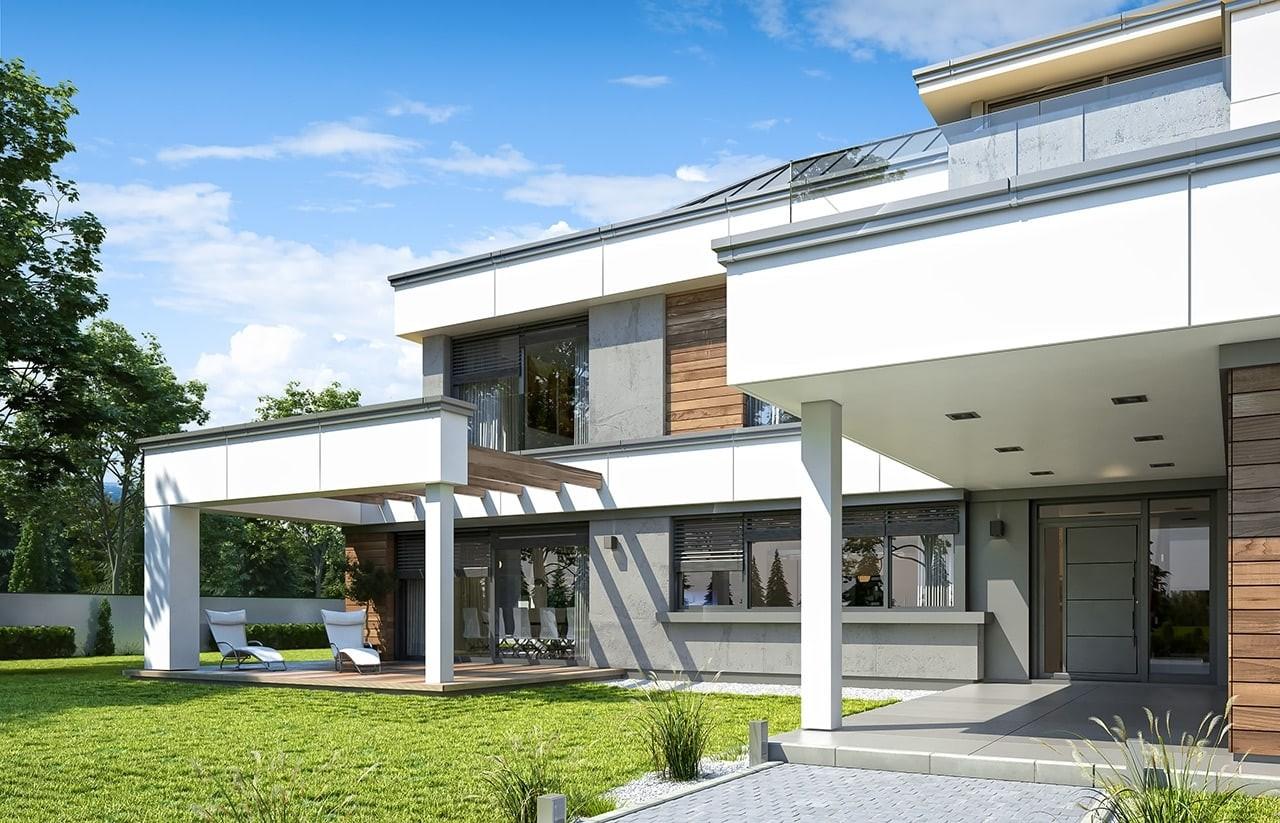 Projekt domu Willa Floryda 4 - wizualizacja frontowa odbicie lustrzane