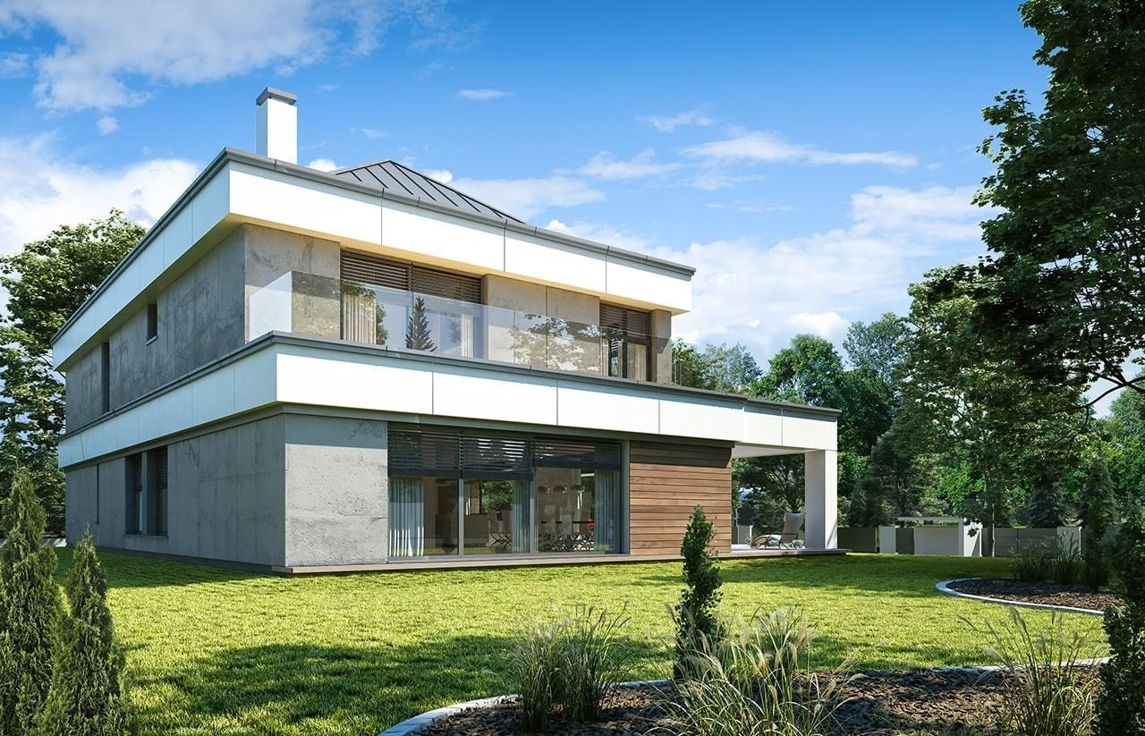Projekt domu Willa Floryda 4 - wizualizacja tylna odbicie lustrzane