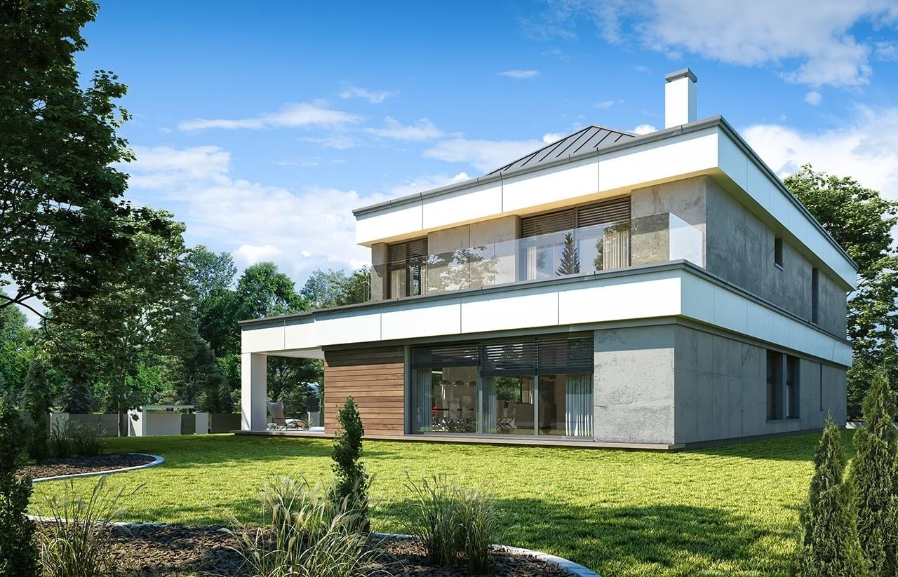 Projekt domu Willa Floryda 4 - wizualizacja tylna