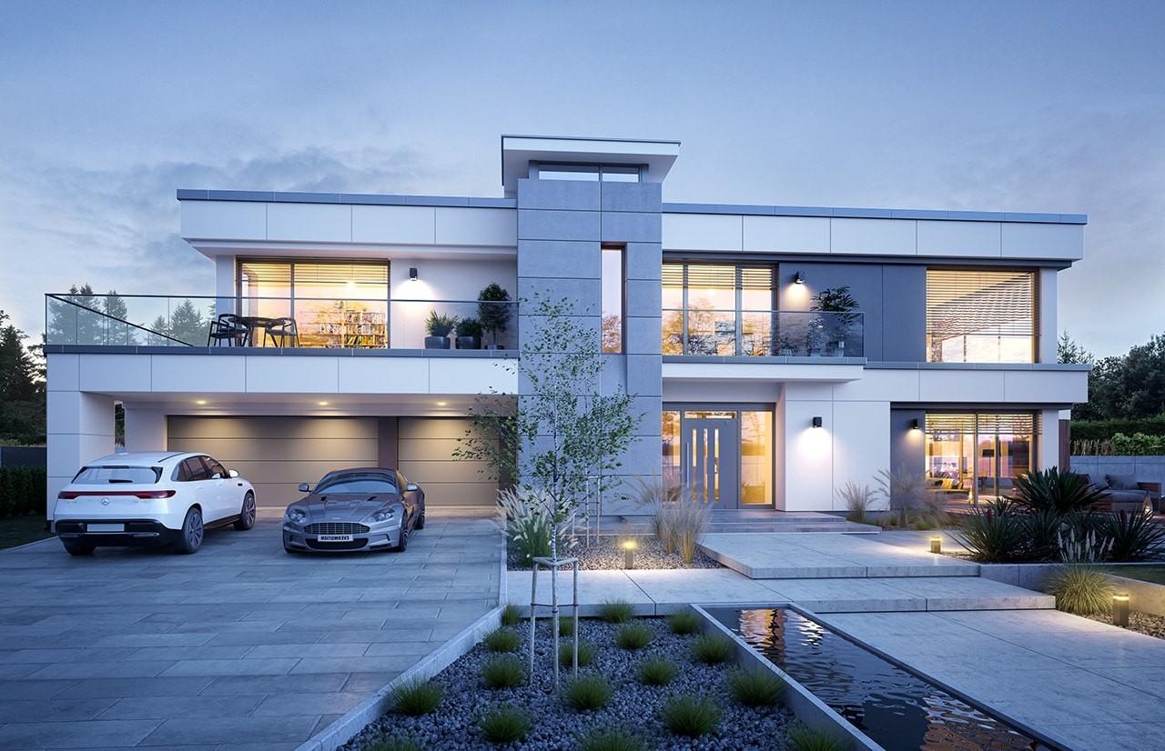 Projekt domu Willa Floryda 5 - wizualizacja frontowa odbicie lustrzane