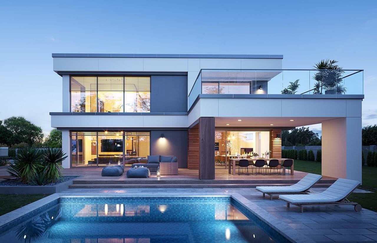 Projekt domu Willa Floryda 5 - wizualizacja tylna 2 odbicie lustrzane