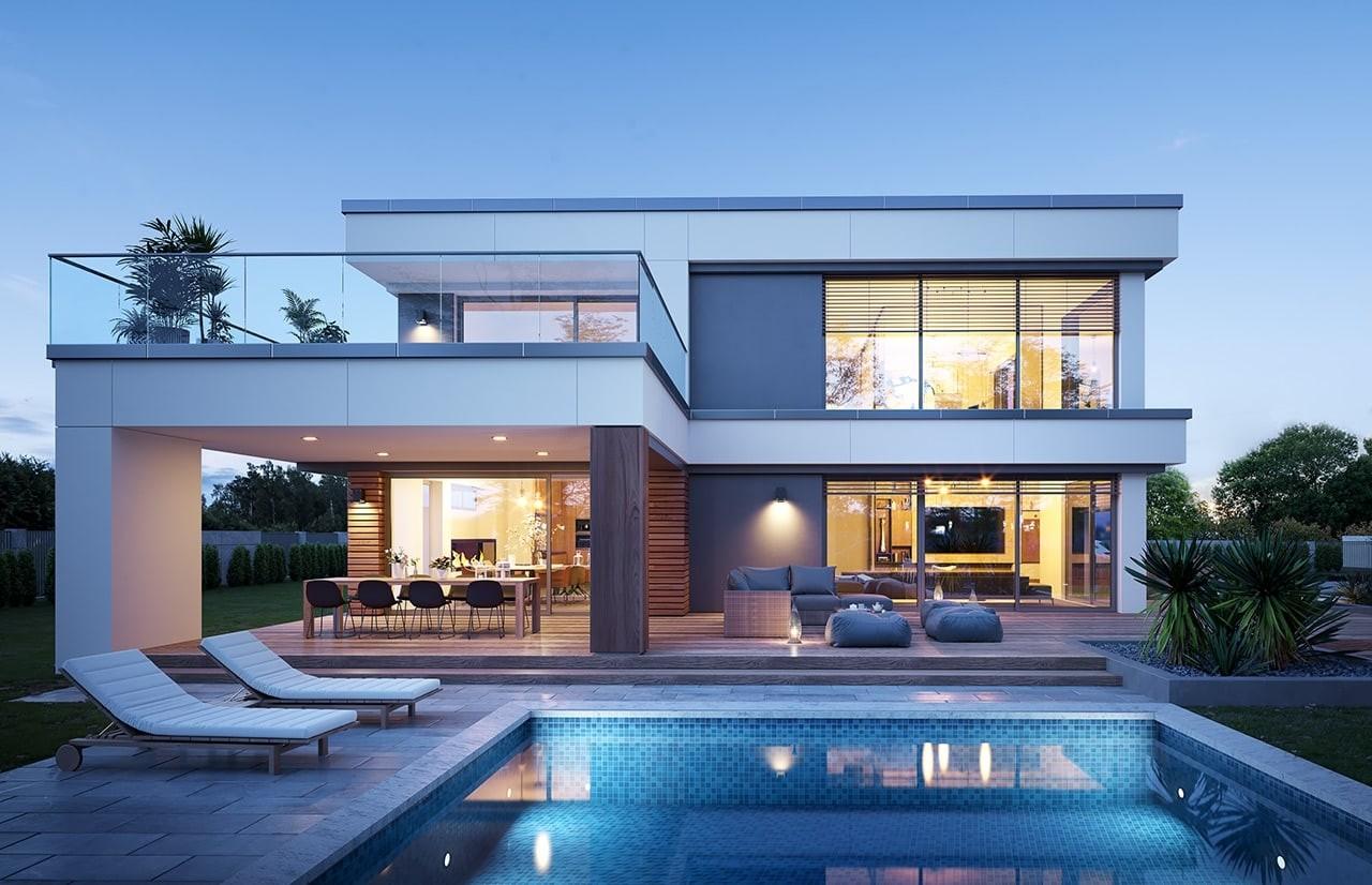 Projekt domu Willa Floryda 5 - wizualizacja tylna 2