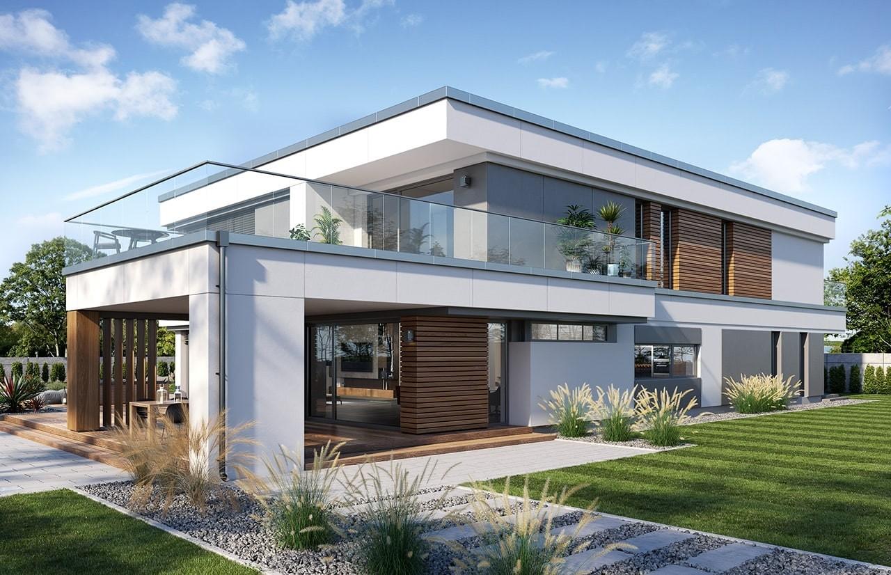 Projekt domu Willa Floryda 5 - wizualizacja tylna 3 odbicie lustrzane