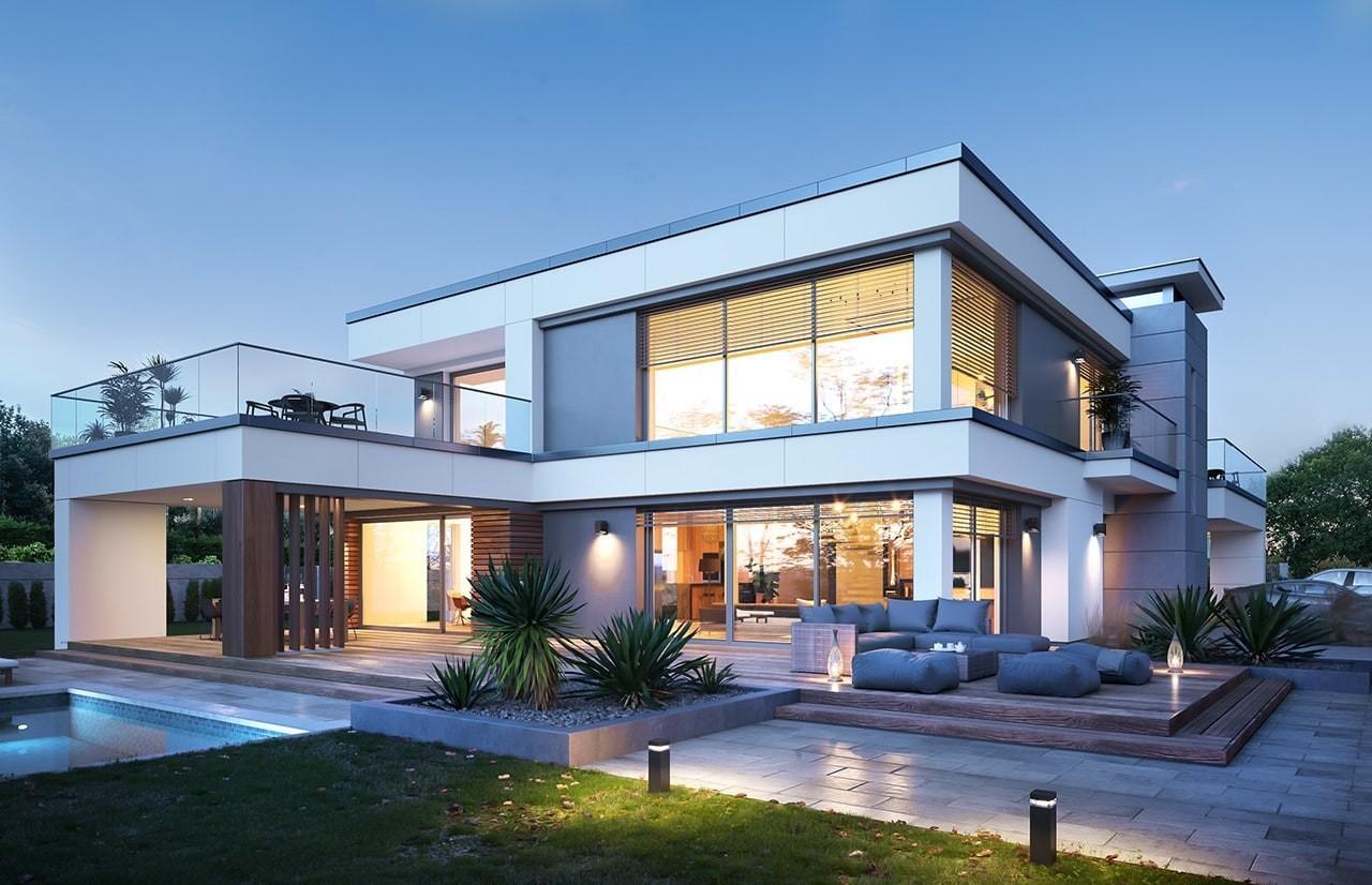 Projekt domu Willa Floryda 5 - wizualizacja tylna