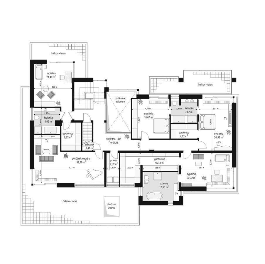 Willa Floryda - rzut piętra odbicie lustrzane