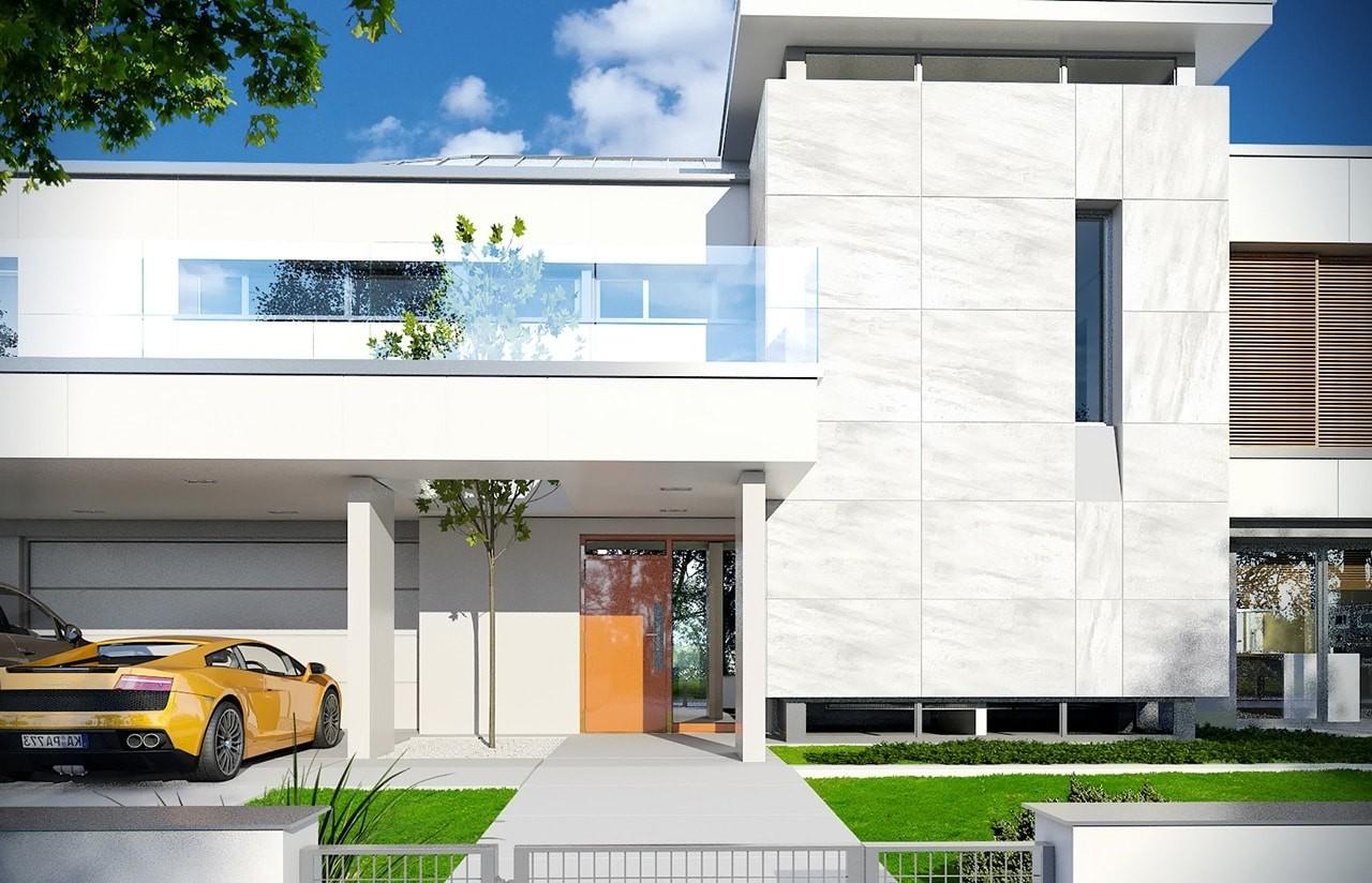 Projekt domu Willa Floryda - wizualizacja frontowa odbicie lustrzane