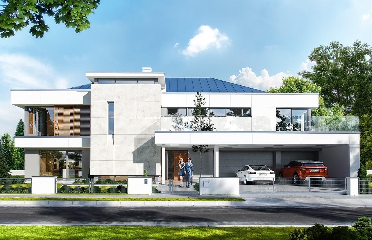 Projekt domu Willa Floryda - wizualizacja frontowa