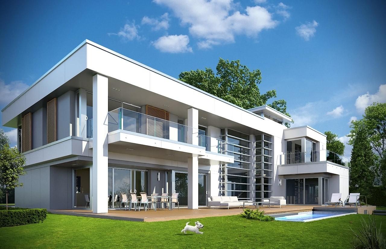 Projekt domu Willa Floryda - wizualizacja tylna odbicie lustrzane