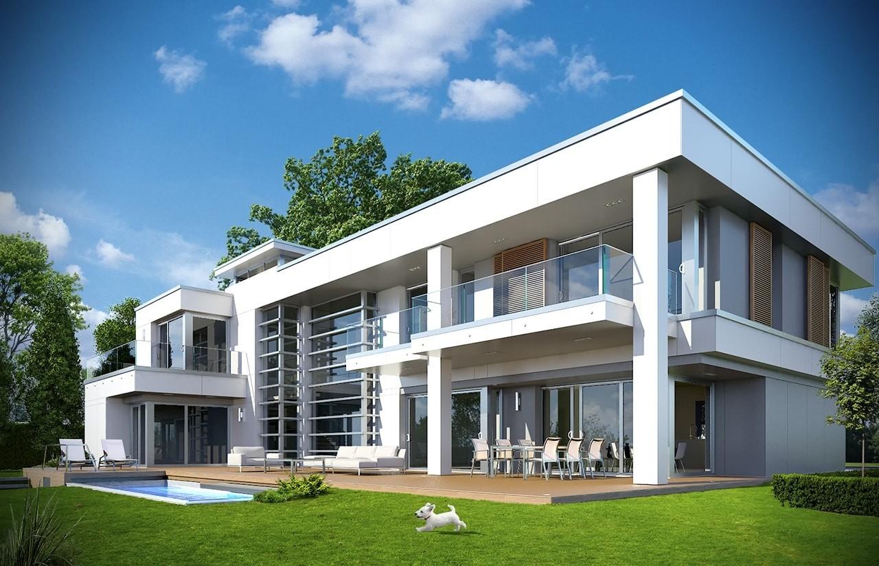 Projekt domu Willa Floryda - wizualizacja tylna