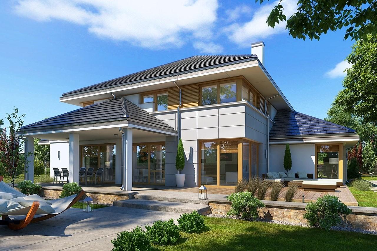 Projekt domu Willa komfortowa - wizualizacja tylna