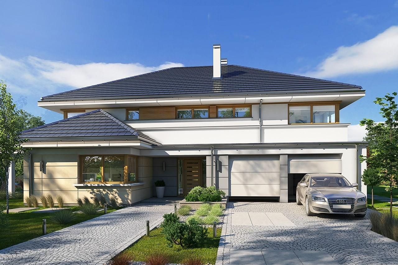 Projekt domu Willa komfortowa - wizualizacja frontowa odbicie lustrzane