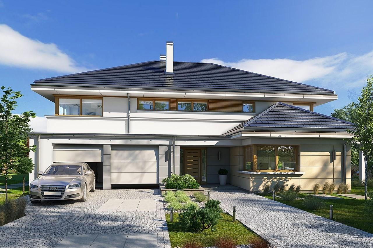 Projekt domu Willa komfortowa - wizualizacja frontowa