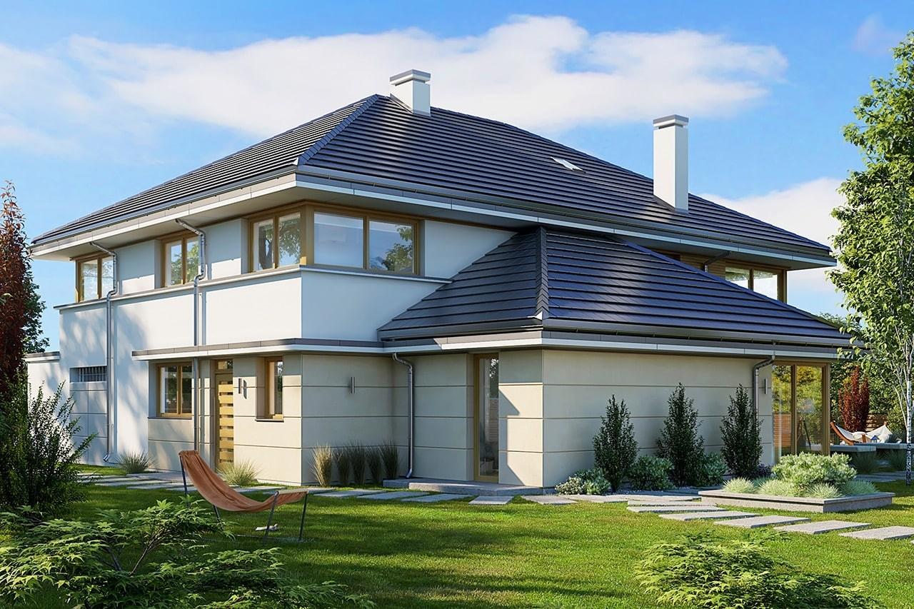 Projekt domu Willa komfortowa - wizualizacja tylna odbicie lustrzane