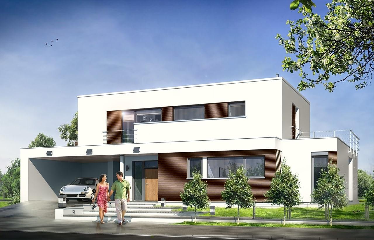 Projekt domu Willa l` Azur - wizualizacja frontowa odbicie lustrzane