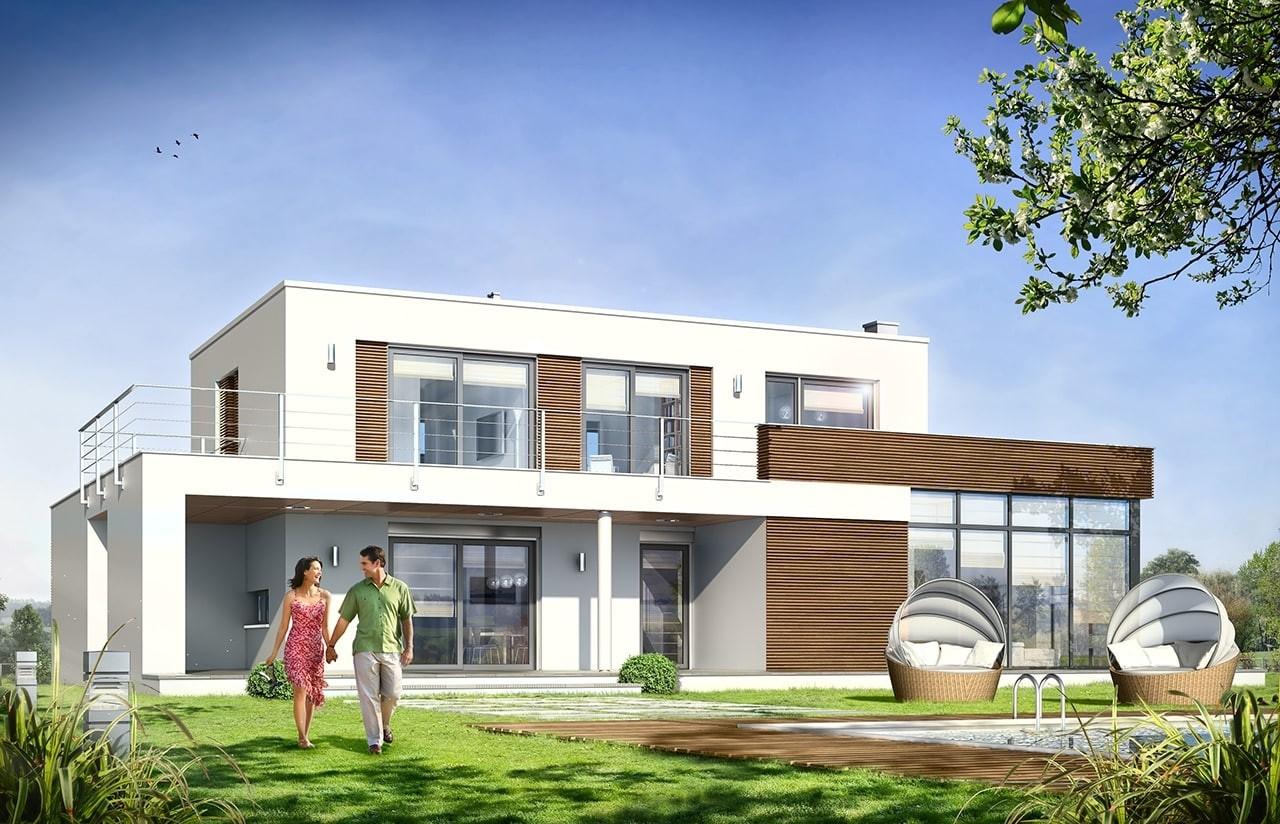Projekt domu Willa l` Azur - wizualizacja tylna odbicie lustrzane