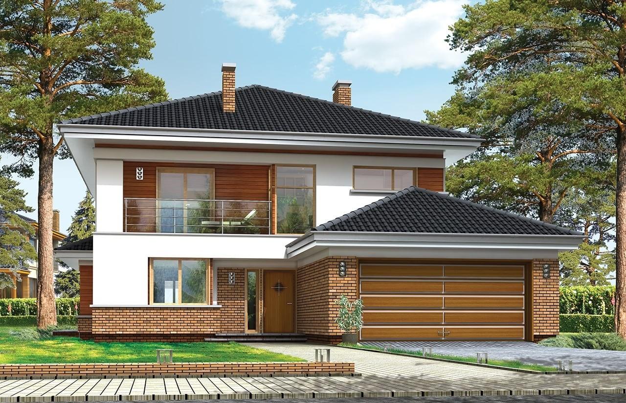 Projekt domu Willa na Borowej - wizualizacja frontowa odbicie lustrzane