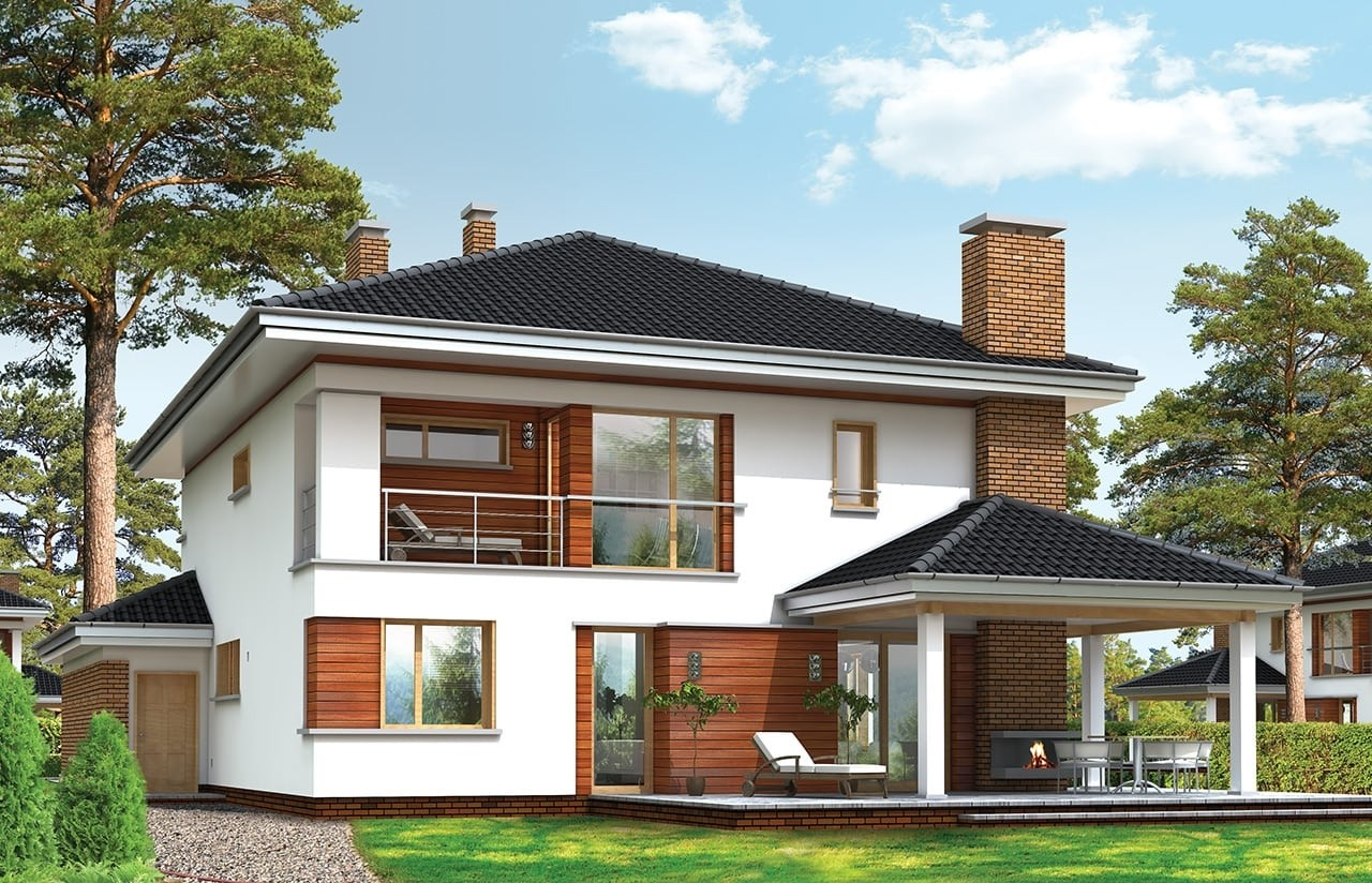 Projekt domu Willa na Borowej - wizualizacja tylna odbicie lustrzane