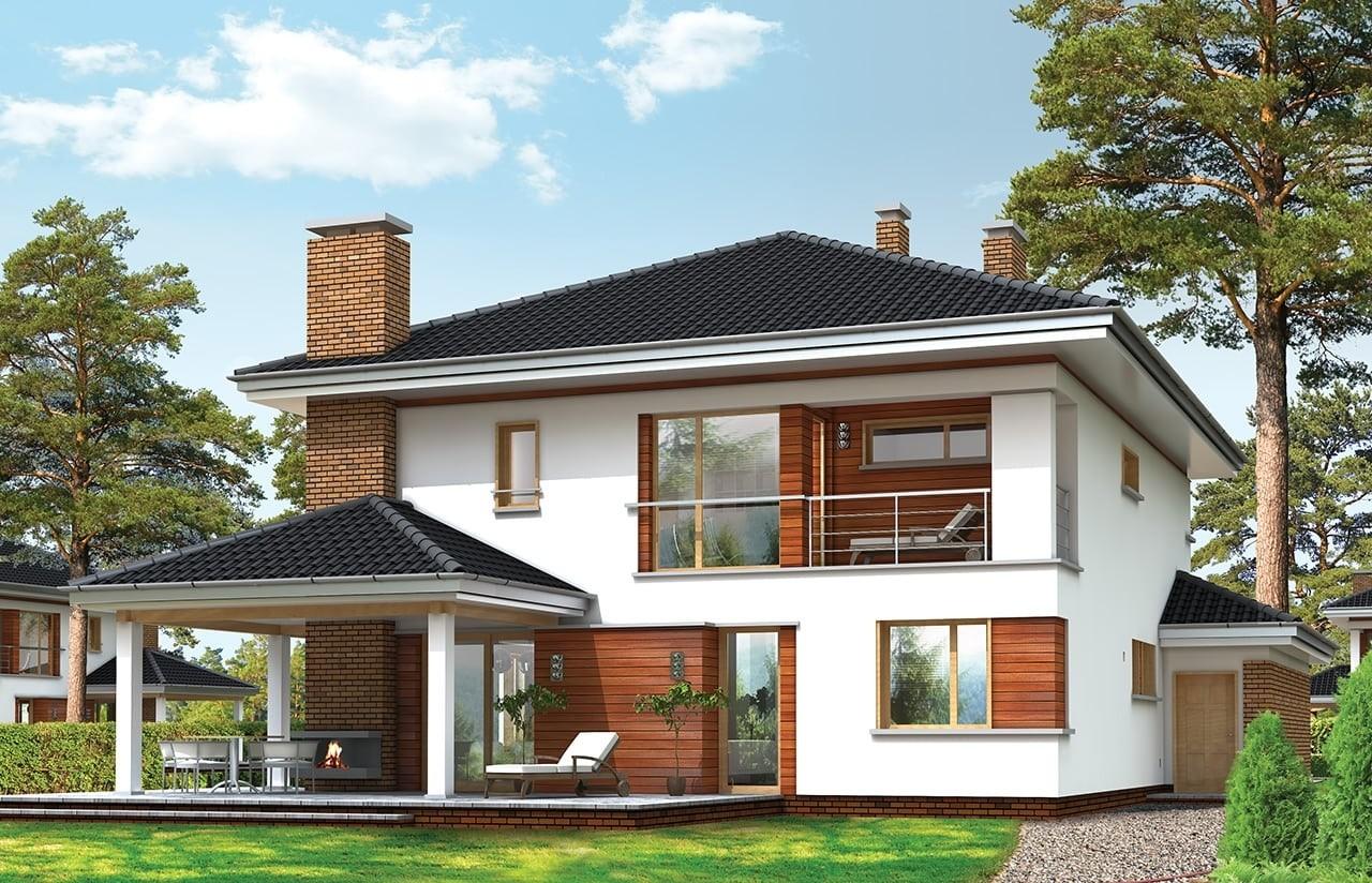Projekt domu Willa na Borowej - wizualizacja tylna