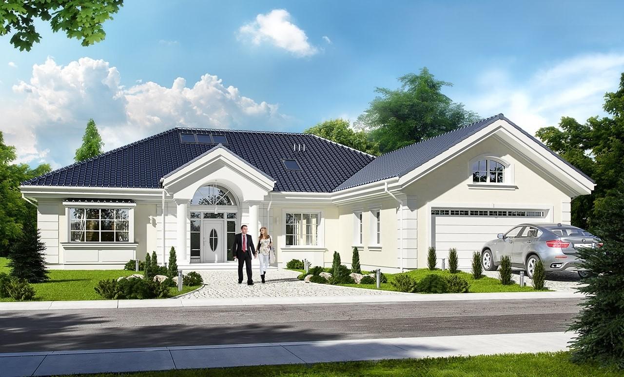 Projekt domu Willa parkowa 2 - wizualizacja frontowa odbicie lustrzane